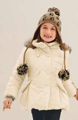 krémová dětská zimní bunda