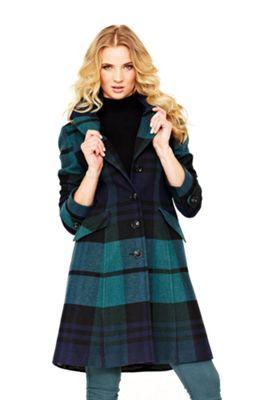 kabát s kostkovaným vzorem